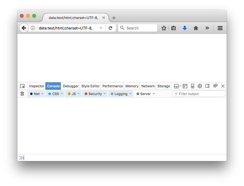 Firefox web browser with developer console open