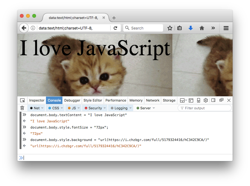 "Web browser with console open, main body shows ""I love JavaScript"" over a kitten image background"